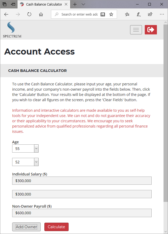 Cash Balance Calculator Demographic Input